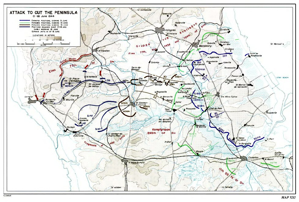 Map Of Drop Zones In France.Combat In Normandy 1a
